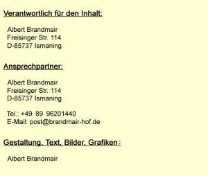 Impressum: Albert Brandmair